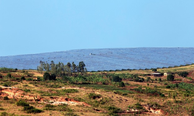 The 8.5MW solar power plant, set among Rwanda's famed green hills, has been operational since July 2014. Photograph: Cyril Ndegeya / AFP for the Guardian